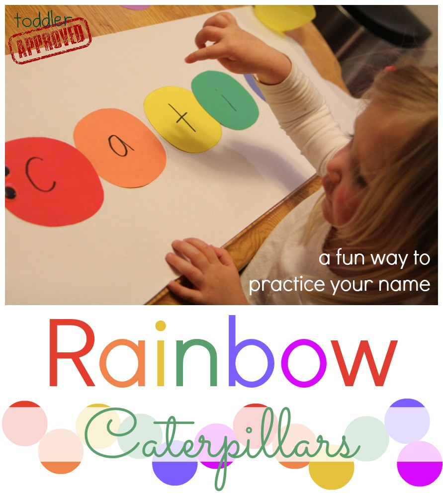 Toddler Approved!: Rainbow Caterpillars {Name Matching Activity}