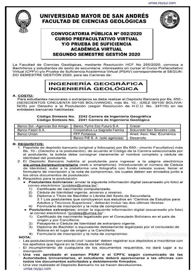UMSA II/2020: Convocatoria de la Facultad de Ciencias Geológicas al Curso Prefacultativo Virtual y/o Prueba de Suficiencia Académica