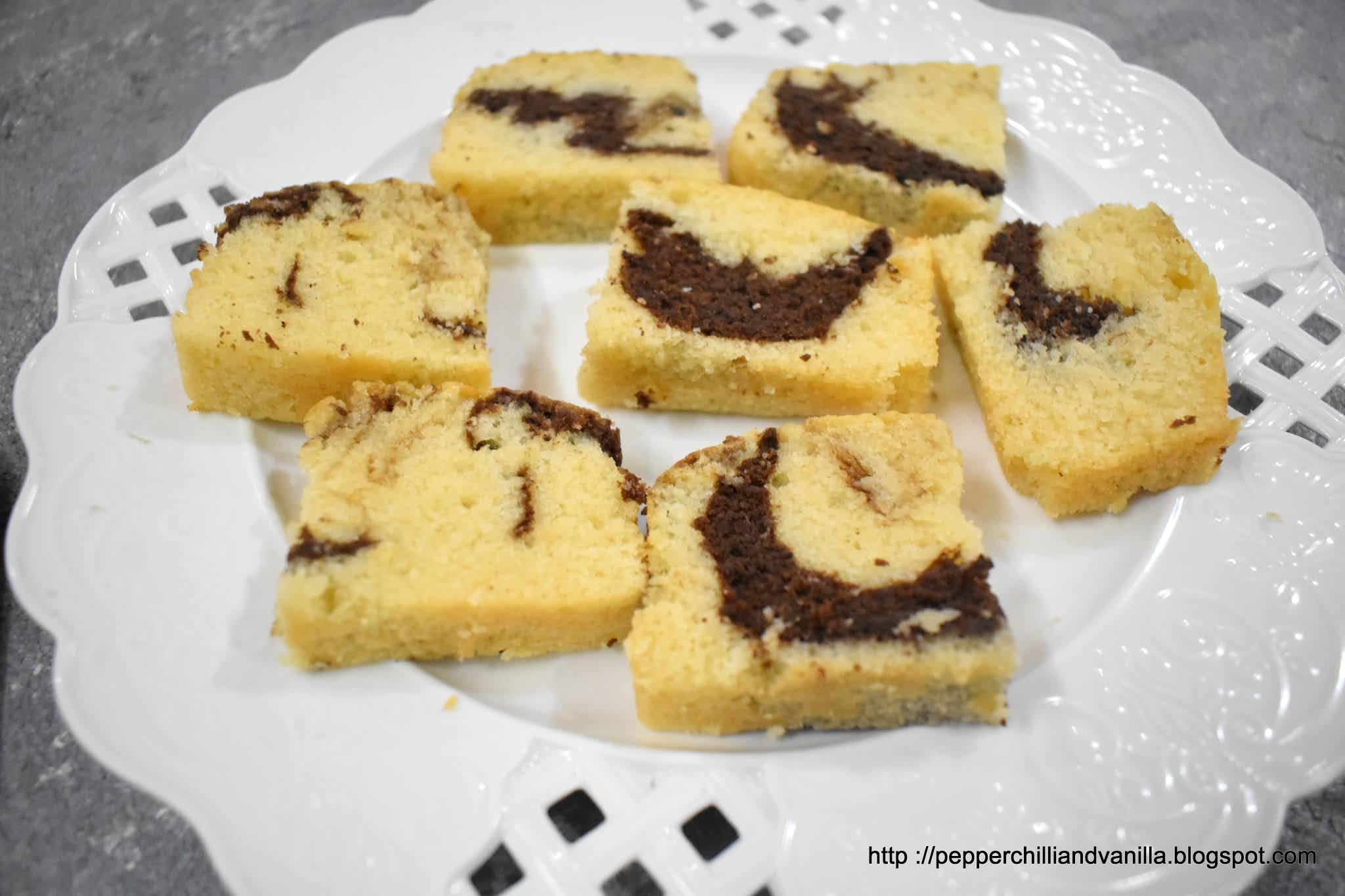 eggless hot milk marble sponge cake
