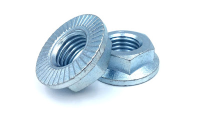 "Custom 1""-8 Grade 5 Serrated Hex Flange Nuts With Zinc Clear Finish"