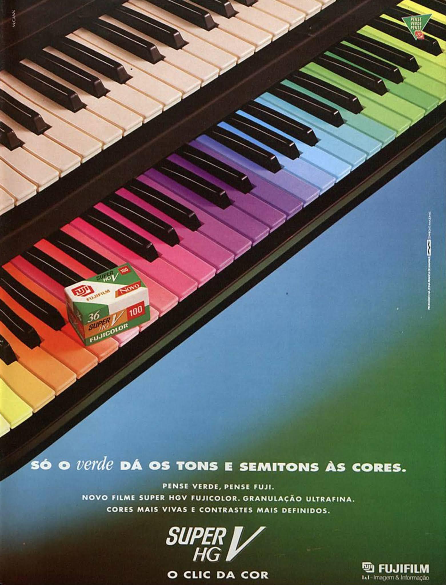 Anúncio de 1995 do filme fotográfico Fujifilm promovendo sua gama de cores em fotos