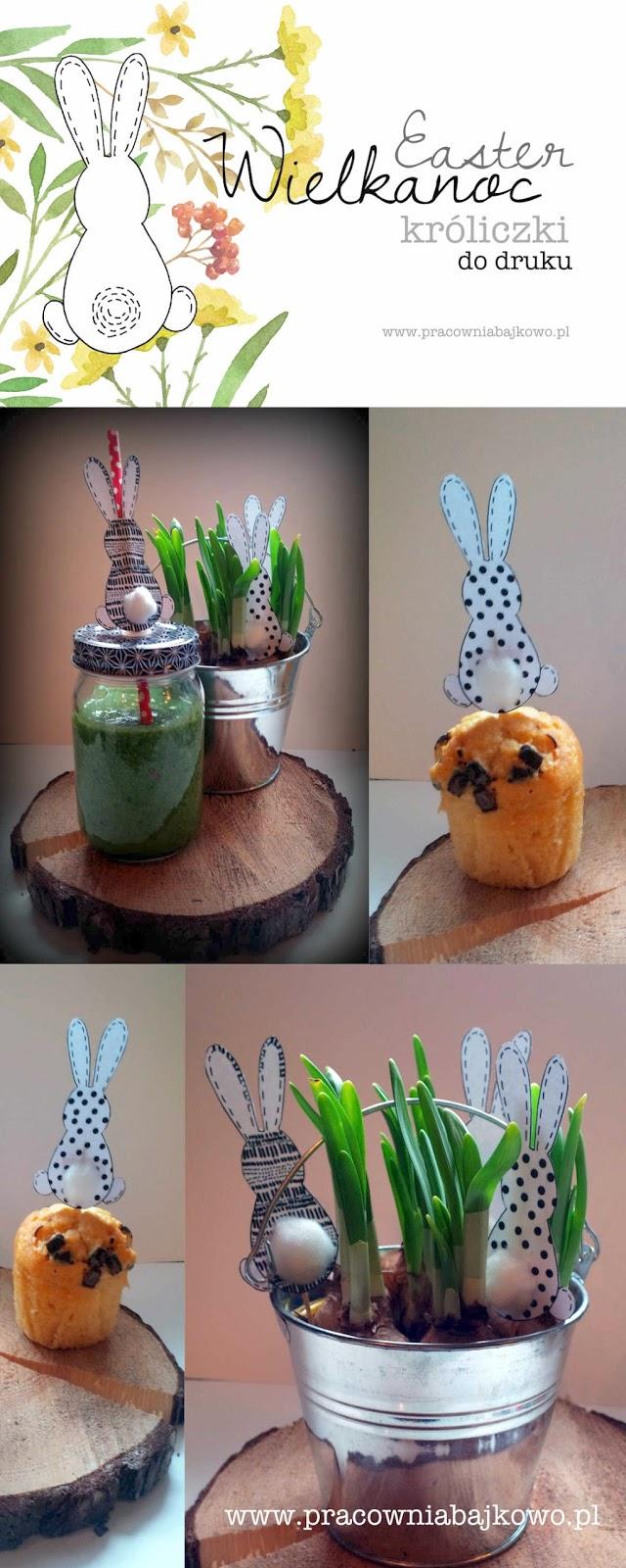 *DIY* Wielkanocne króliczki - szablon do druku