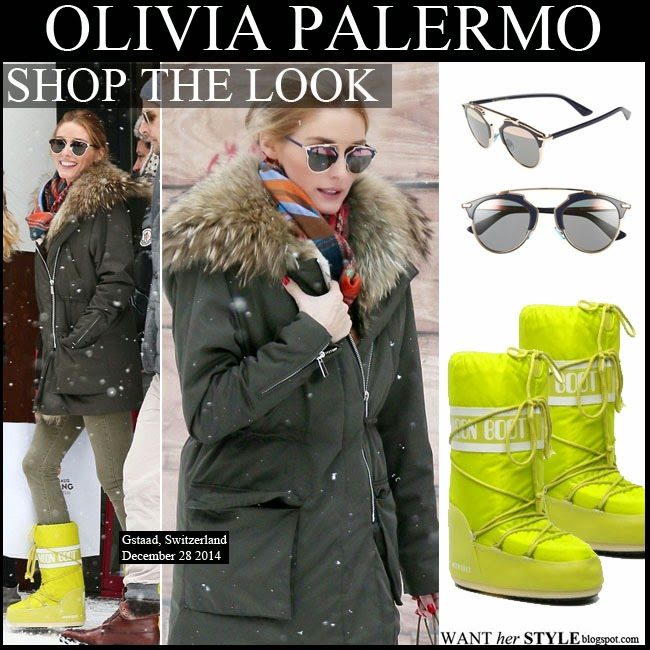 WHAT SHE WORE: Olivia Palermo in neon yellow moon boots ...