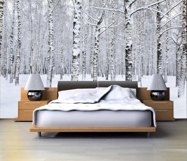 björktapet vinter sovrum björkstammar svartvit träd skogstapet