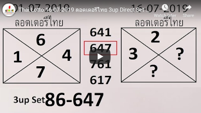 Thai Lotto ลอตเตอรีไทย 3up Direct Set Trick 16 July 2019