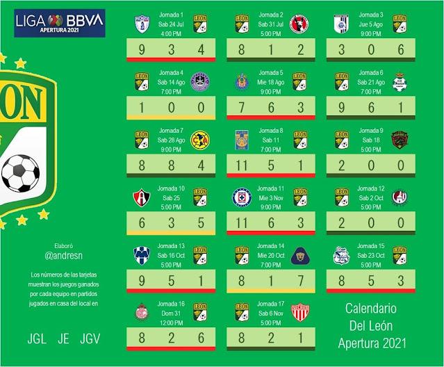 Calendario del León Apertura 2021 del futbol mexicano