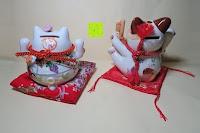 Vergleich hinten: Japanische Maneki Neko Glückskatze aus Porzellan (Klein, 12 cm)