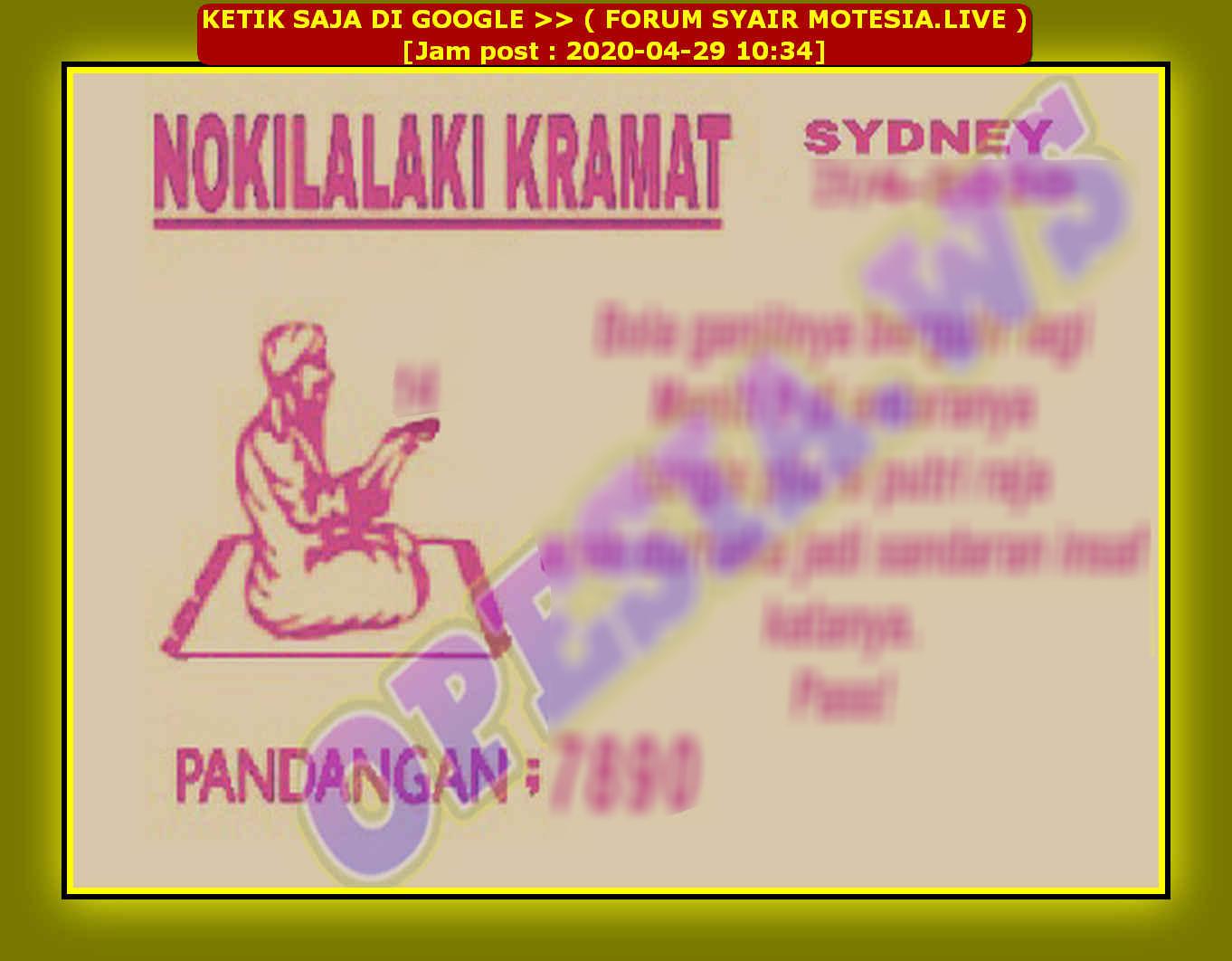 Kode syair Sydney Rabu 29 April 2020 17