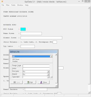 pemberian kondisi data pada setiap ruang entry
