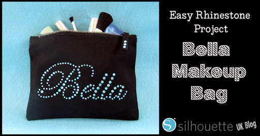 Rhinestone makeup bag by Janet Packer on Crafting Quine blog #rhinestones #bella #silhouette #heatpress #rhinestonesetter