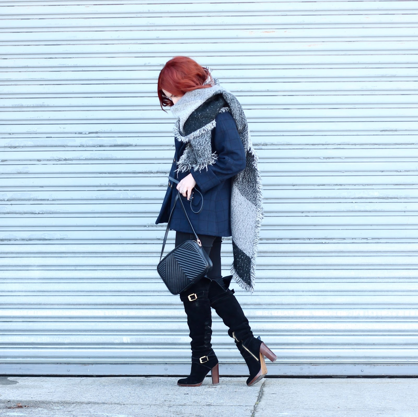 how to layer for winter, winter layers, navy and grey, blanket scarf style, how to wear blanket scarves
