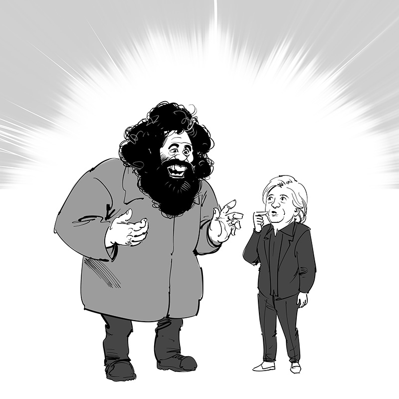 american political caricature harry potter themed hillary clinton and rubius hagrid caricature illustration