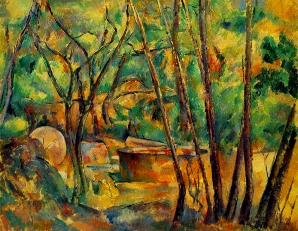 Pedra de molí i cisterna sota els arbres (Paul Cézanne)