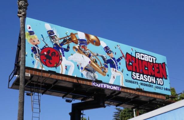 Robot Chicken season 10 ticker tape billboard