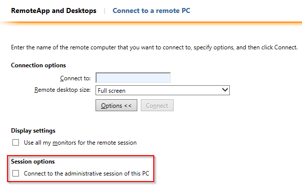 Add option to connect to the administrative session of a machine