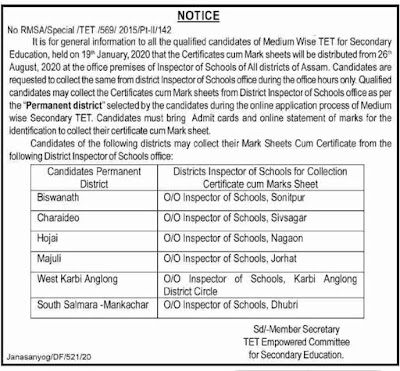 Assam High School TET Marksheet Distribution IS Office Address