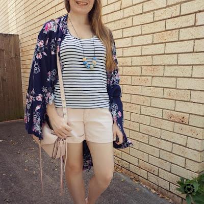awayfromblue print mixing striped tank floral kimono outfit pastel pink shorts