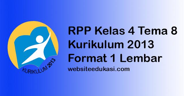 RPP Kelas 4 Tema 8 K13 Format 1 Lembar Revisi 2020