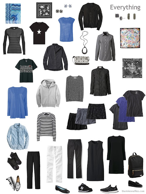 travel capsule wardrobe in black, white and blue