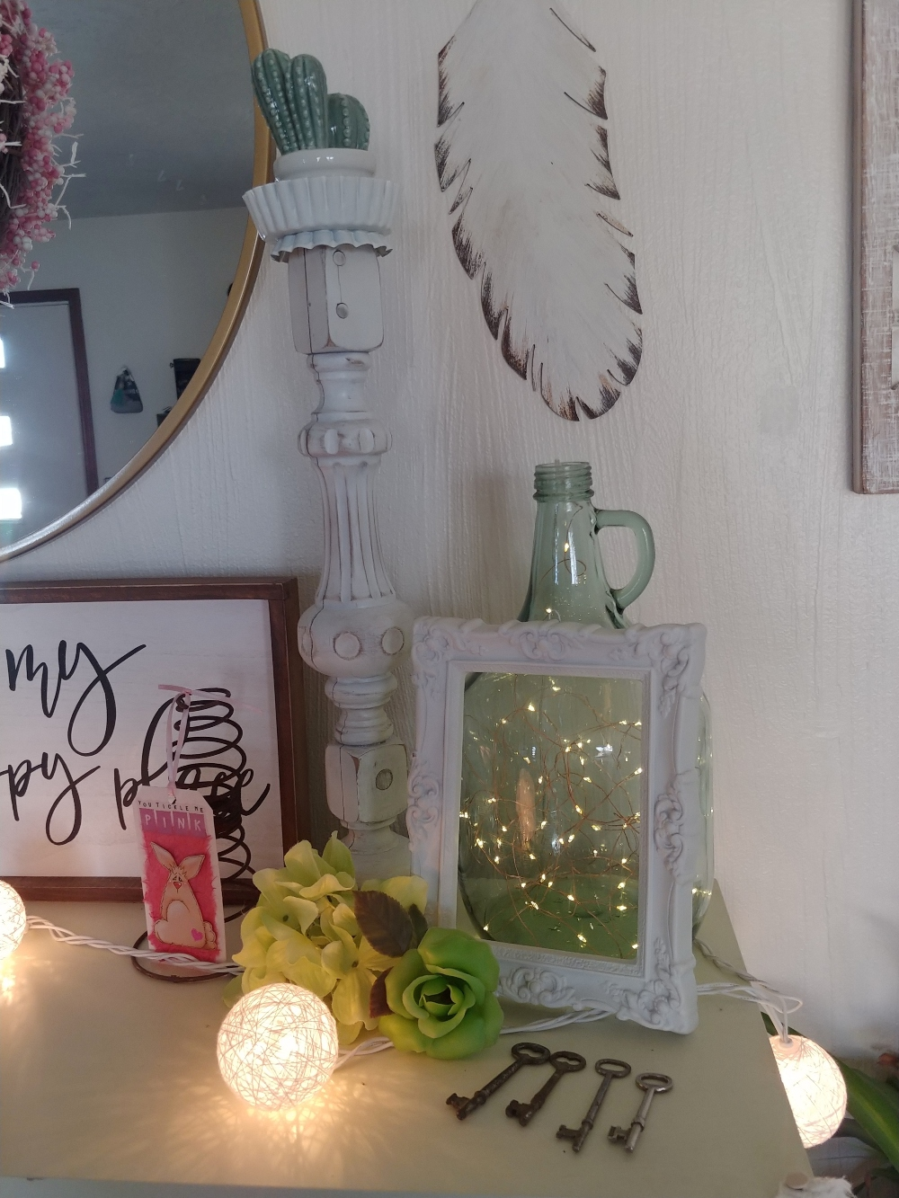 mantel decorated for spring