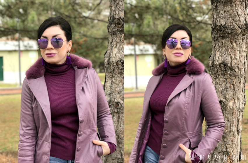 Mor Kürklü Mont ve Figürlü Çanta-moda blogu-moda blogları