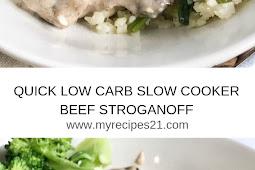 QUICK LOW CARB SLOW COOKER BEEF STROGANOFF