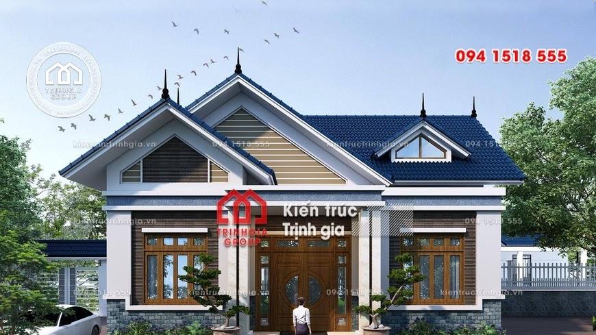 Mẫu nhà cấp 4 nông thôn có 3 phòng ngủ đẹp diện tích 120m2 - Mã số BT1017 - Ảnh 1