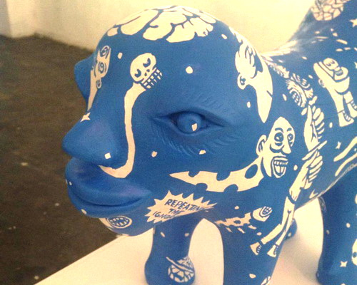 Tinuku Vendy Methodos displaying Nimrod Son glowing blue terracotta sculpture in solo exhibition at Crack Studio