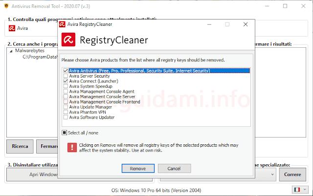Interfaccia di Antivirus Removal Tool con disinstallatore ufficiale