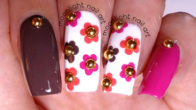 Floral Dotting Tool Design: Brown, Pink and Orange Nail Art Tutorial