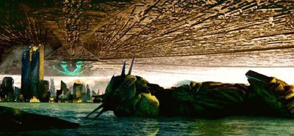 New York City lies in ruins after the alien destroyer completes its attack in INDEPENDENCE DAY.