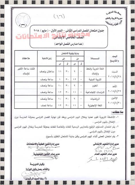 جدول إمتحانات الشهادة الابتدائية بمحافظة المنوفية 2018 أخر العام بالصور