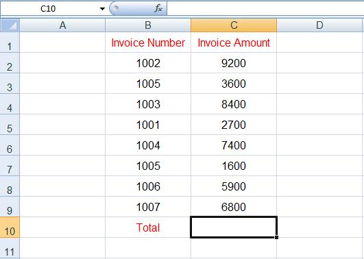 الجمع التلقائي في Excel