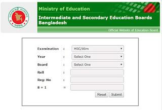 Madrasah Board result SMS format