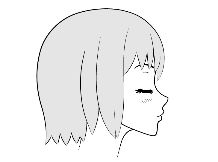 Anime mencium wajah kepala mengangkat gambar tampilan samping