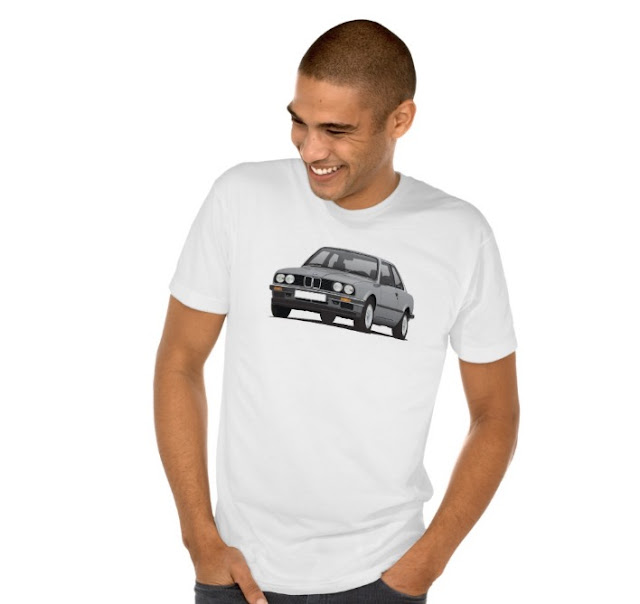 BMW E30 (3 Series) illustration tee shirts @Zazzle Store gray