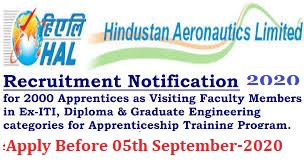 HAL Recruitment 2016|Hindustan Aeronautics Limited invites application for the post of 2000 Apprentices as Visiting Faculty Members in Ex-ITI, Diploma & Graduate Engineering categories for Apprenticeship Training Program. Apply before 28 October 2016./2016/10/hindustan-aeronautics-limited-hal-recruitment-2016-for-2000-apprentices-download-application-form.html