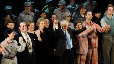 Sir Peter Maxwell Davies with Jane Glover and the cast of his opera Kommilitonen! at the Royal Academy of Music in 2011