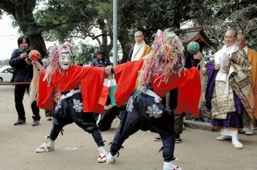 Oni-Matsuri (Devil Festival), at Takezaki Kanzeonji Temple, Tara Town, Saga Pref.