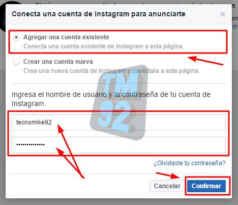 conectar cuenta de instagram con facebook