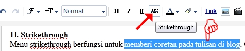 Fungsi Strikethrough di blog