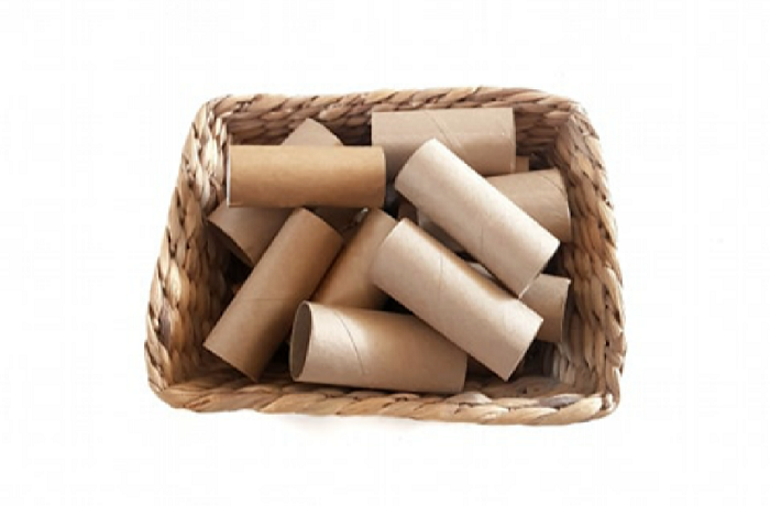 Basket of toilet paper rolls