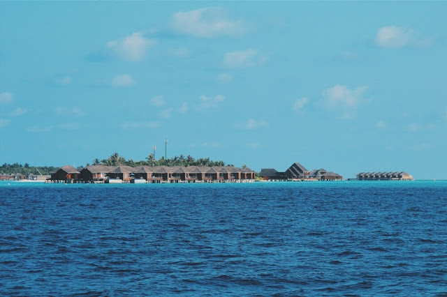 view from a public ferry to maafushi island