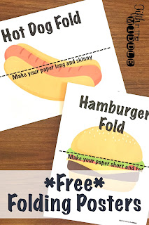 "Free posters to show ""hot dog"" and ""hamburger"" folding"