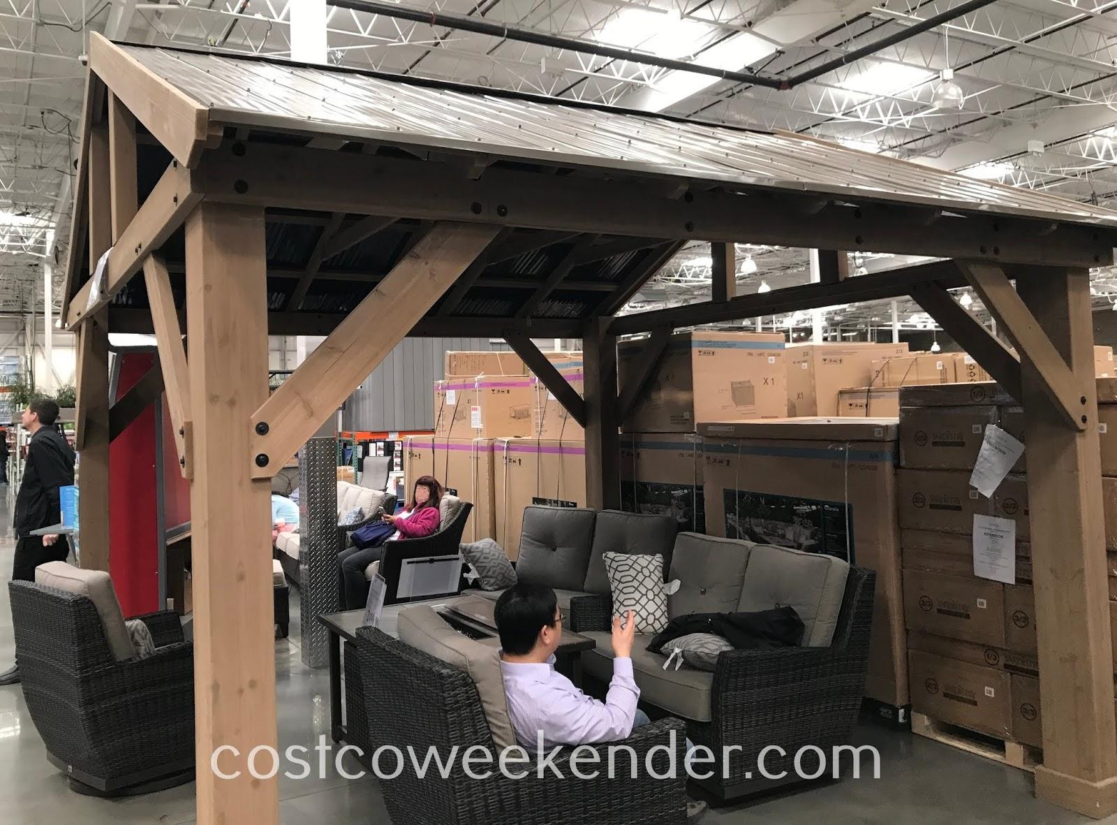 Yardistry Cedar Wood Pavilion with Aluminum Roof | Costco ... on Yardistry Backyard Pavilion id=53628