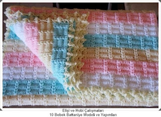 Örgü Bebek Battaniye Modelleri - Tığ işi Battaniye Modelleri 10