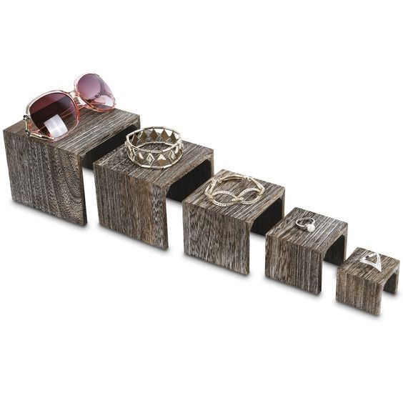 #WD525CF 5 Pieces Wooden Multi Functions Jewelry Display Stands, Figurine Stand Risers, Coffee Color