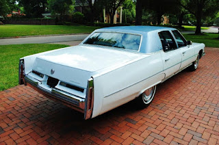 White 1976 Cadillac Fleetwood Brougham Rear