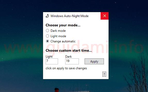 Interfaccia programma Windows 10 Auto-Night-Mode