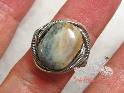Wire wrapped Jasper ring top view